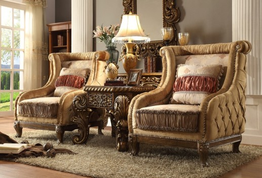 HD458 Homey Design European Fabric Wood Trim Vienna Mansion Accent Chair