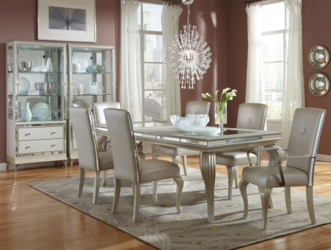 Aico  Hollywood Loft Dining Set  4 Leg Table Frost