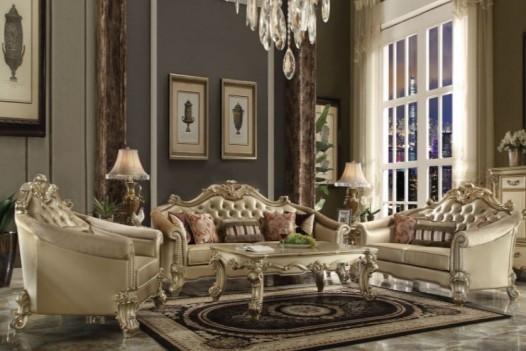 53120 Acme Living Room Vendome II Gold Patina Finish/ Bone PU