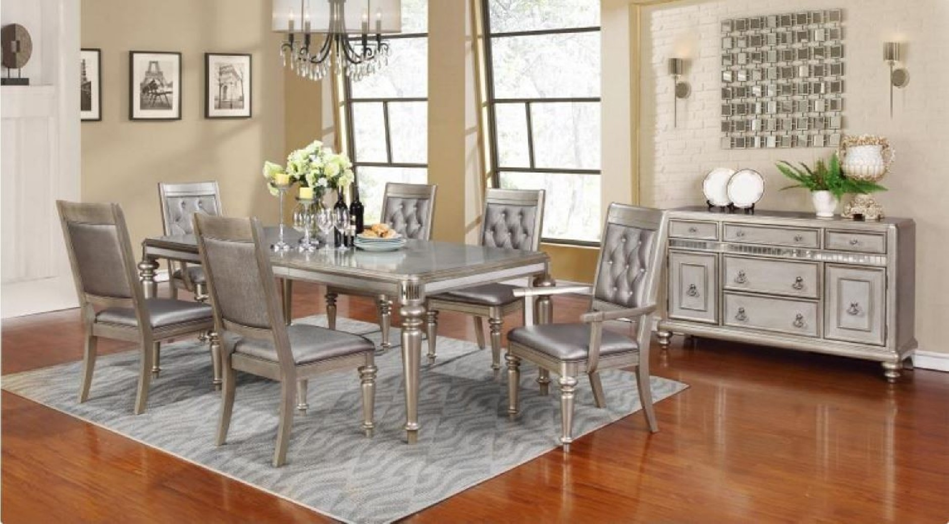 Incredible 106471 Bling Game Metallic Platinum Dining Set Leg Table Home Interior And Landscaping Ponolsignezvosmurscom