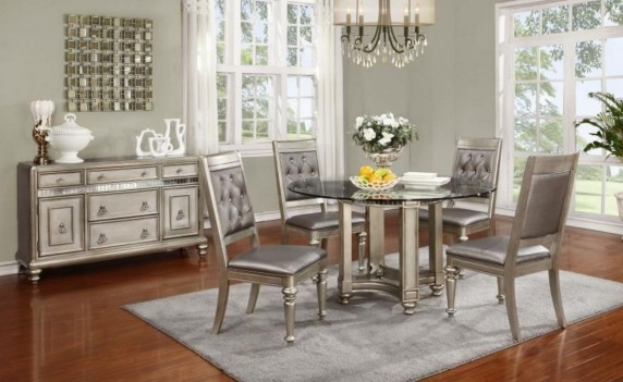 106470 Bling Game Metallic Dining Set. Round Table Glass top