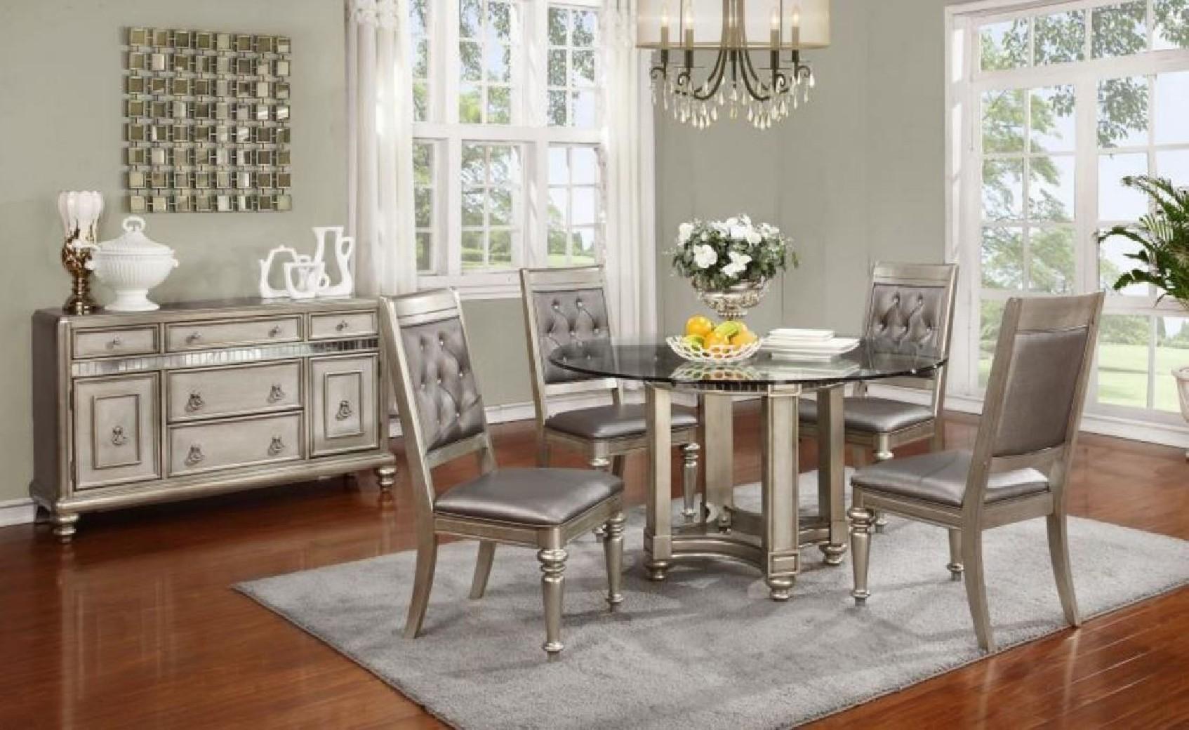 106470 bling game metallic dining set round table glass top