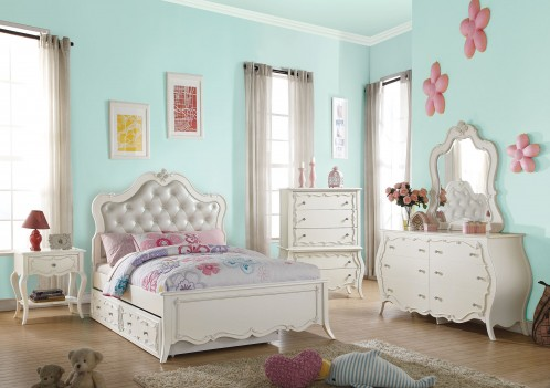 30500 Edalene Youth Bedroom Set CollectionVictorian Style Pearl White Finish