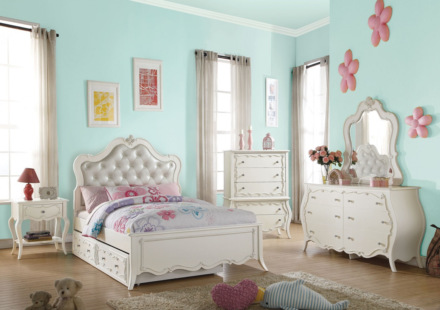 30505 Edalene Youth Bedroom Set Collection Victorian Style Pearl ...