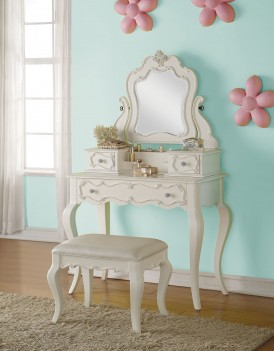 30505 Edalene Youth Bedroom Set Collection Victorian Style Pearl White Finish