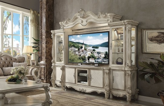 91320 Bone White Finish Entertainment Center Versailles Collection by Acme Furniture