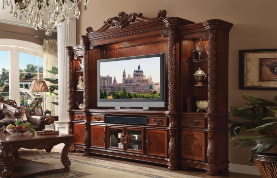 Vendome  4Pcs  Cherry Tv Stand Entertainment Center by Acme