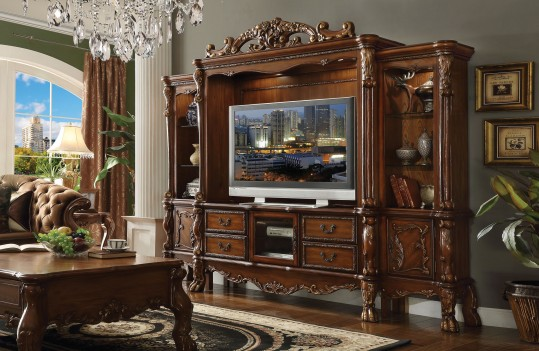 Dresden  Cherry Oak Finish 4Pcs  TV Stand Entertainment Center by Acme