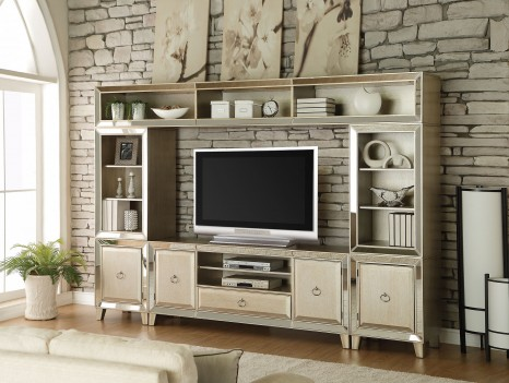Voeville Antique White Finish  4Pcs TV Stand Entertainment Center by Acme