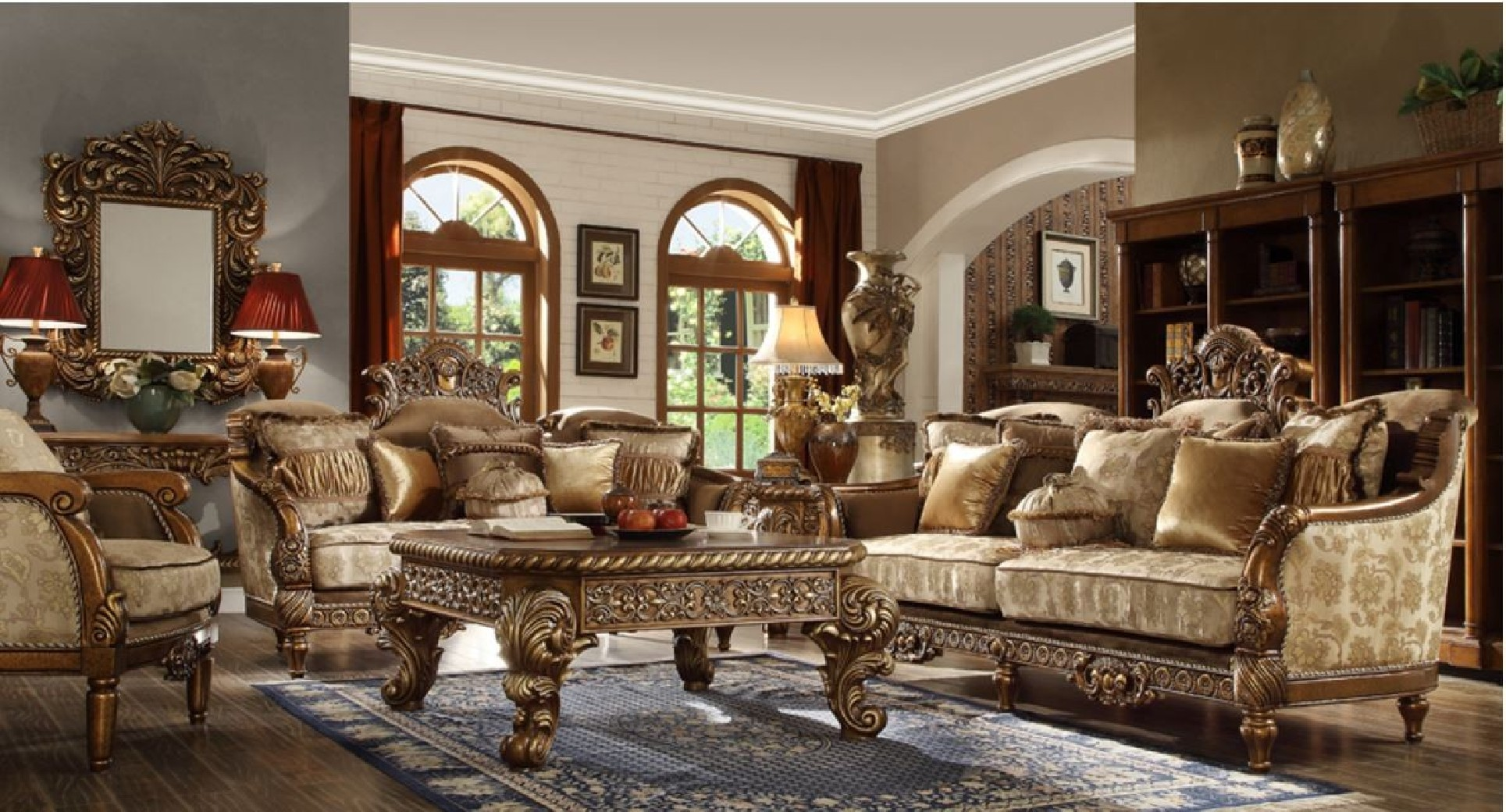 Hd 610 Homey Design Upholstery Living Room Set Victorian European Classic Design Sofa Set