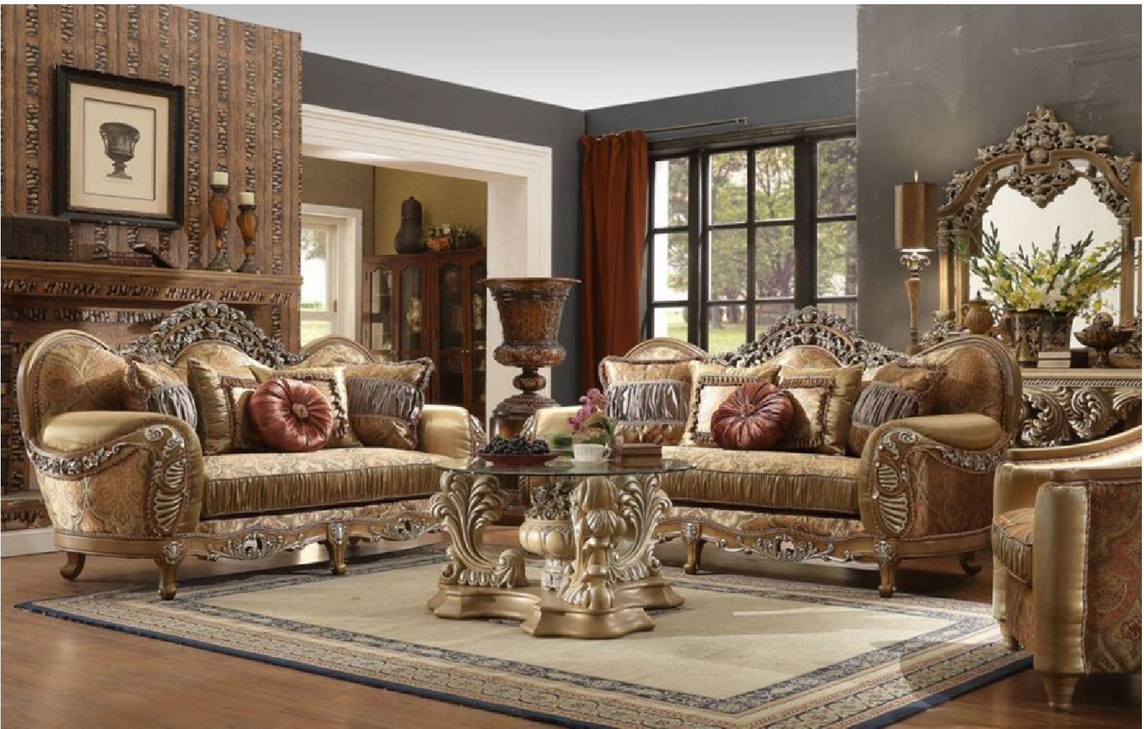 Hd 622 homey design upholstery living room set victorian for Living estilo clasico