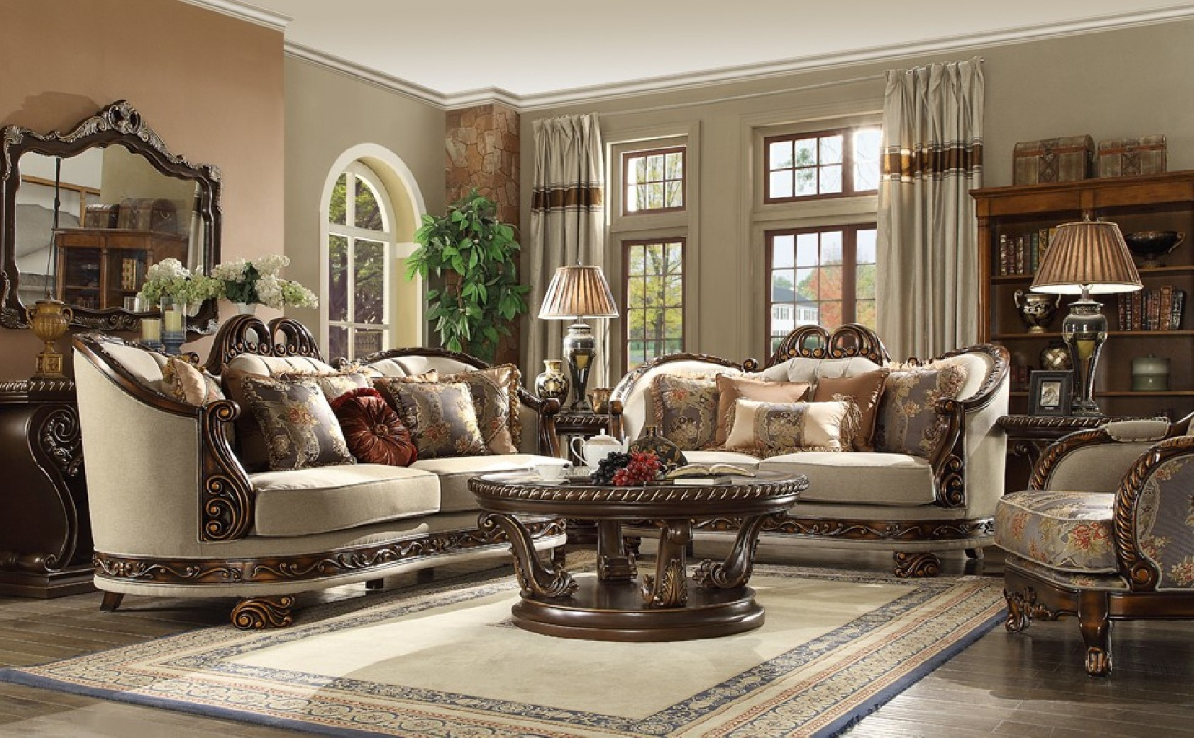 Hd 1623 Homey Design Upholstery Living Room Set Victorian European