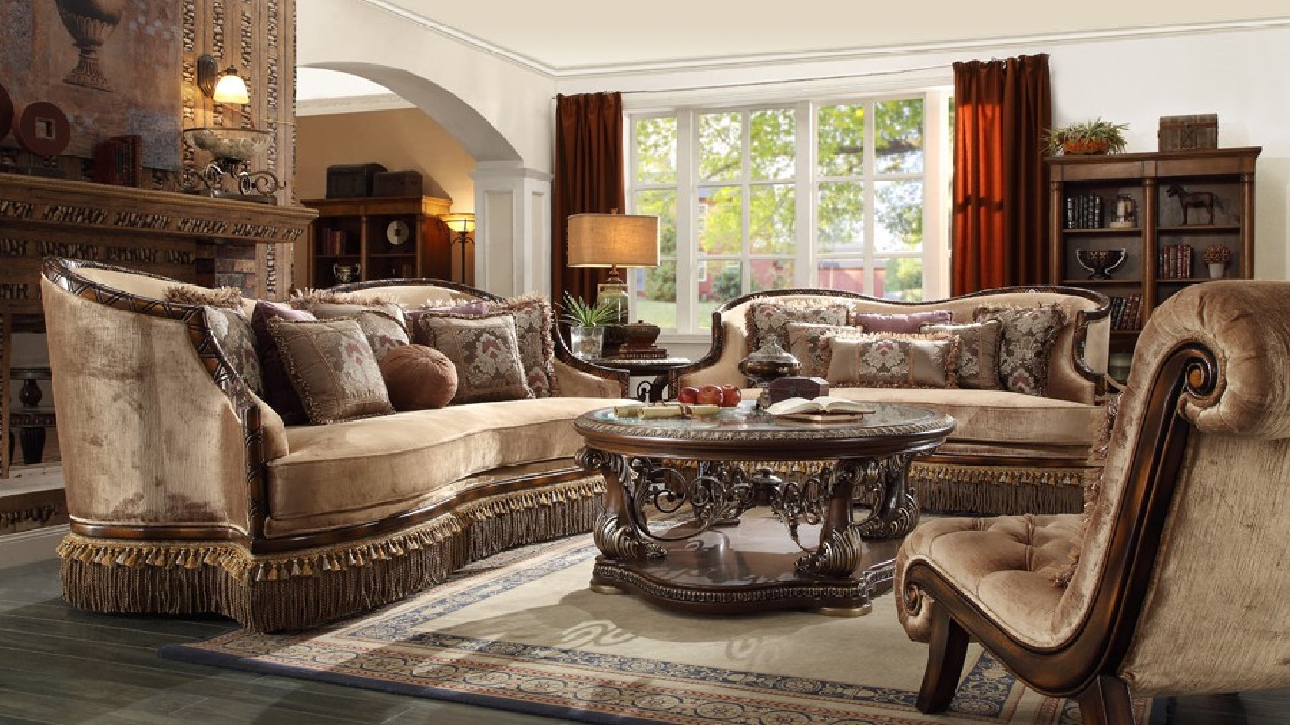 HD 1631 Homey Design upholstery living room set Victorian, European &  Classic design Sofa Set