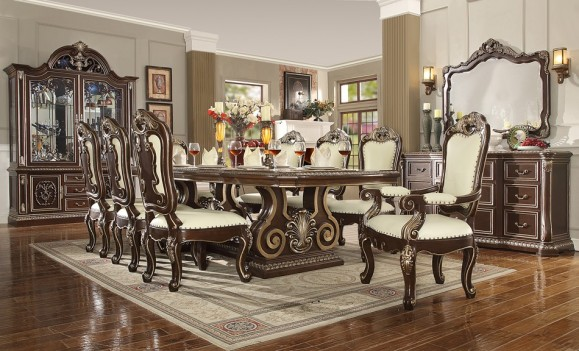 HD 8013 Dark Cherry finish Dining Set Homey Design Victorian, European & Classic design