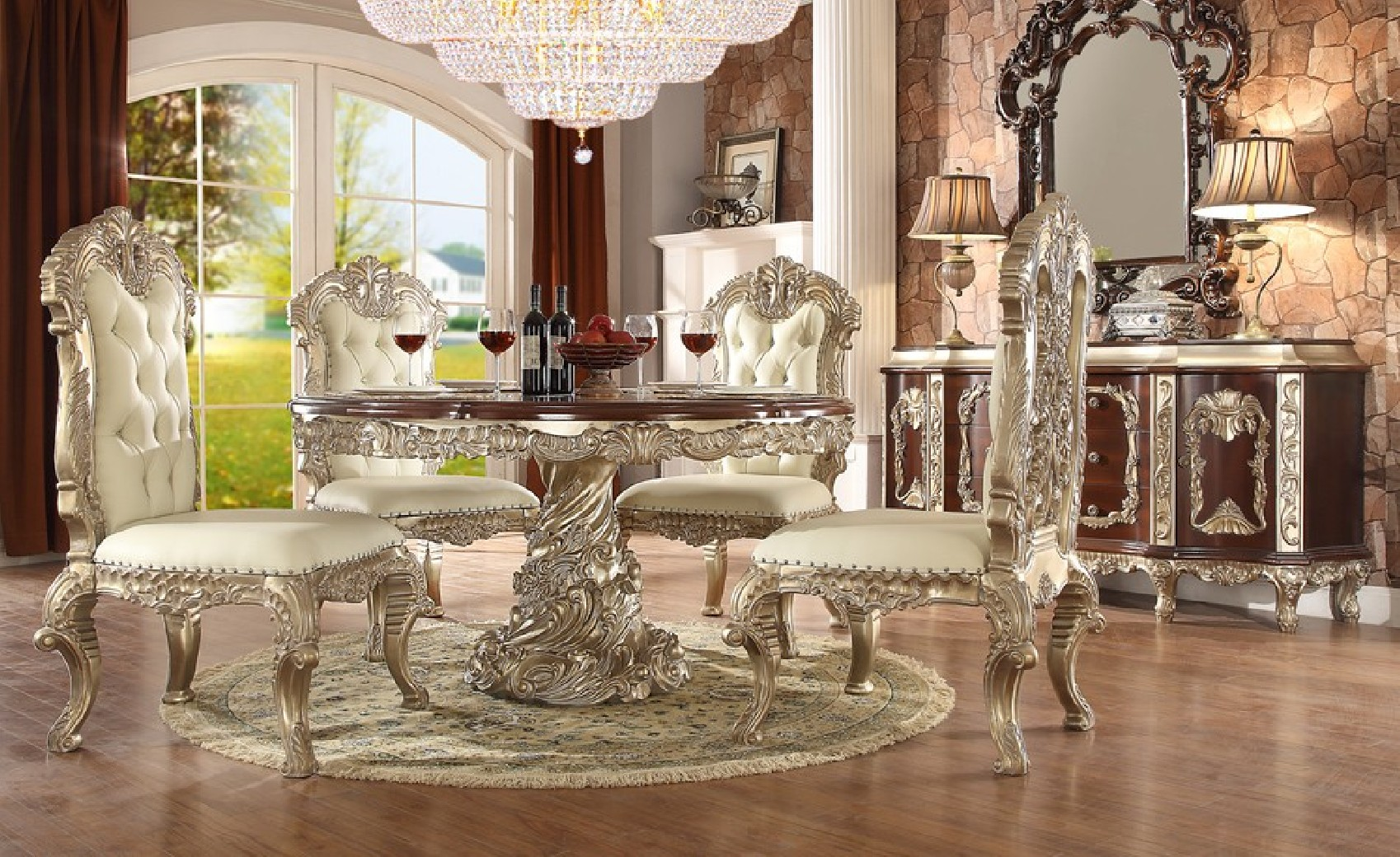 H8017 Antique White Finish Dining Set Homey Design Victorian, European U0026  Classic Design