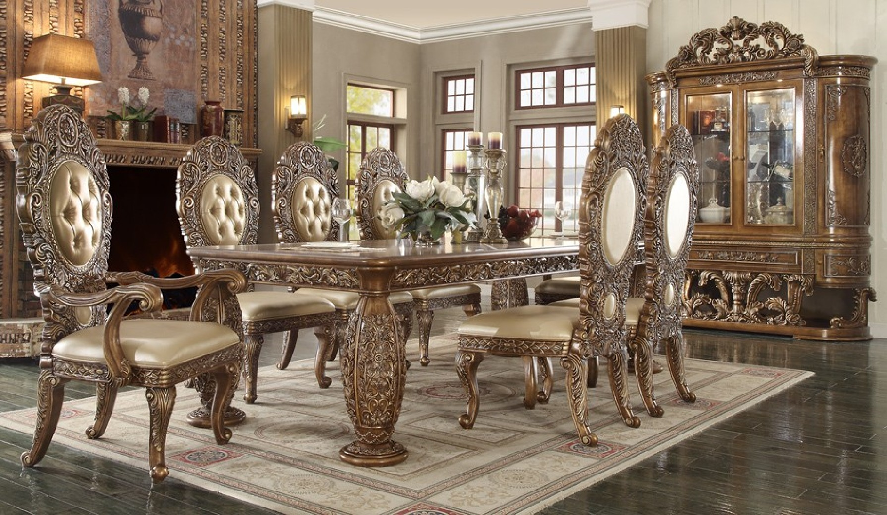 HD 8018  Dark Brown Dining Set Homey Design Victorian, European & Classic design