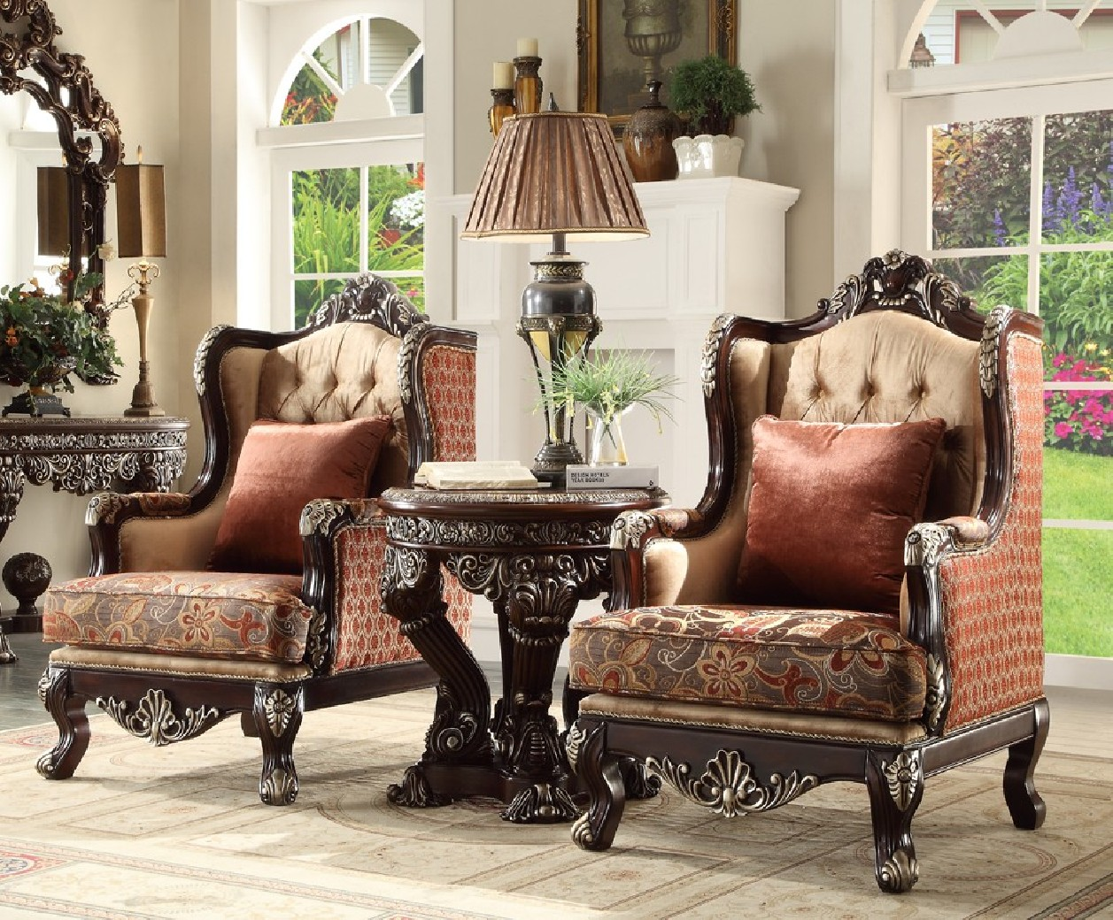 HD 111 Homey Design Upholstery Accent Chair Victorian, European U0026 Classic  Design