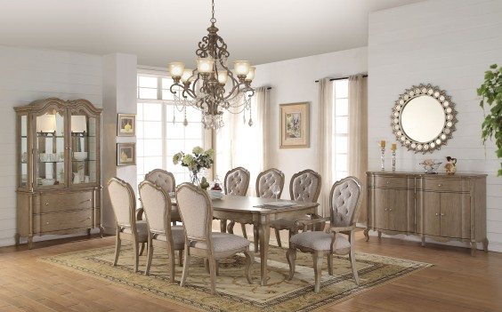 66050 Acme Dining Set Chelmsford Collection Antique Taupe Finish/ Beige Fabric