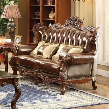 CM6786 Jerico Living Room Button Tufting Brown Top Grain Leather Match