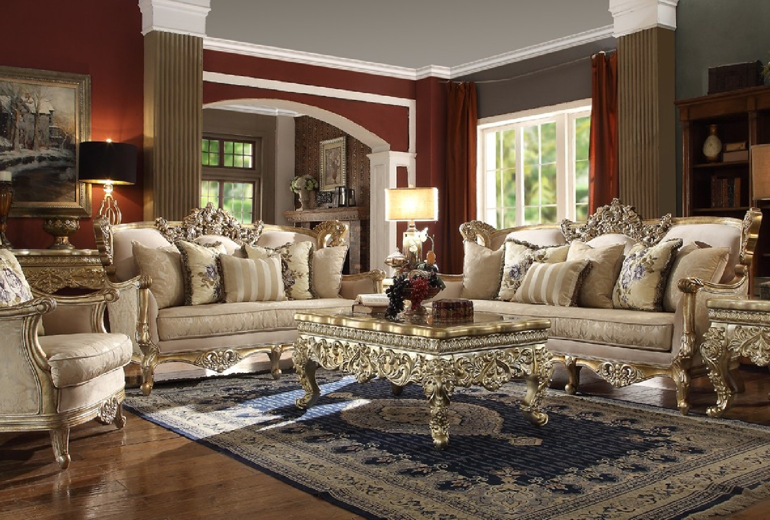 Hd 04 Homey Design Upholstery Living Room Set Victorian European