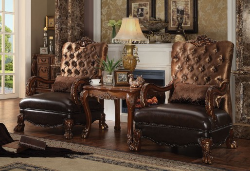 Acme 52097 Dresden 3Pcs Golden Brown Velvet Cherry Oak Finish Accent Chair