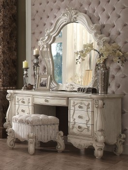 Acme 21137 Versailles Bone White Finish Vanity Set with stool &