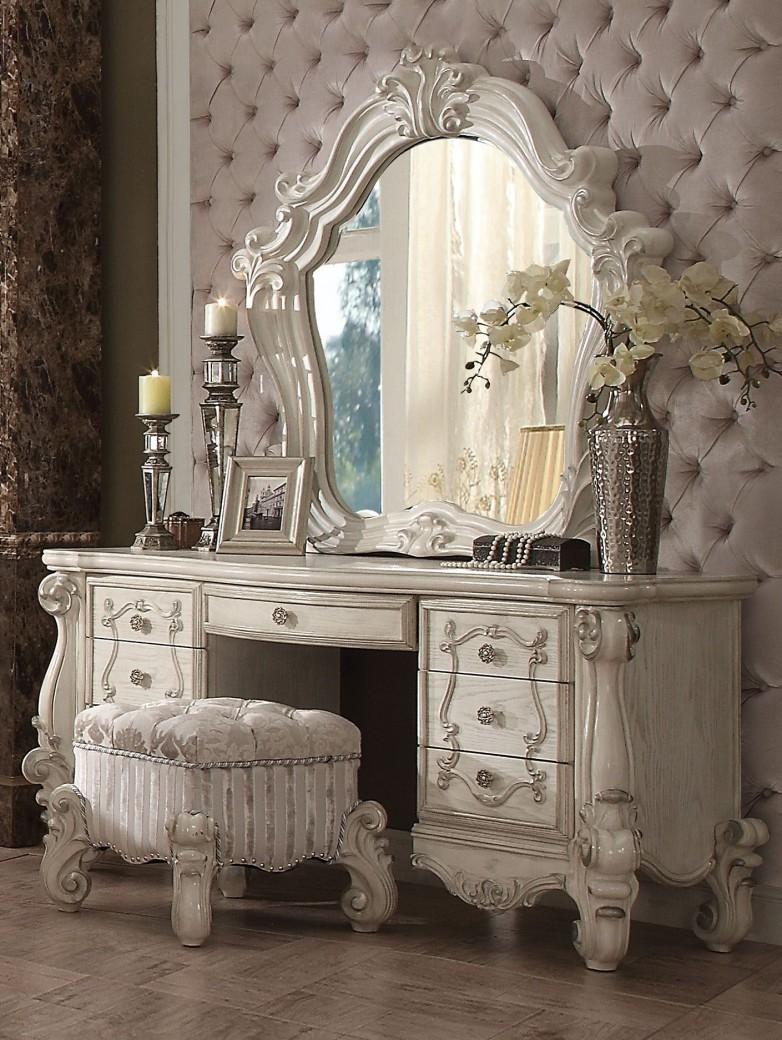 Acme 21137 Versailles Bone White Finish Vanity Set with stool &