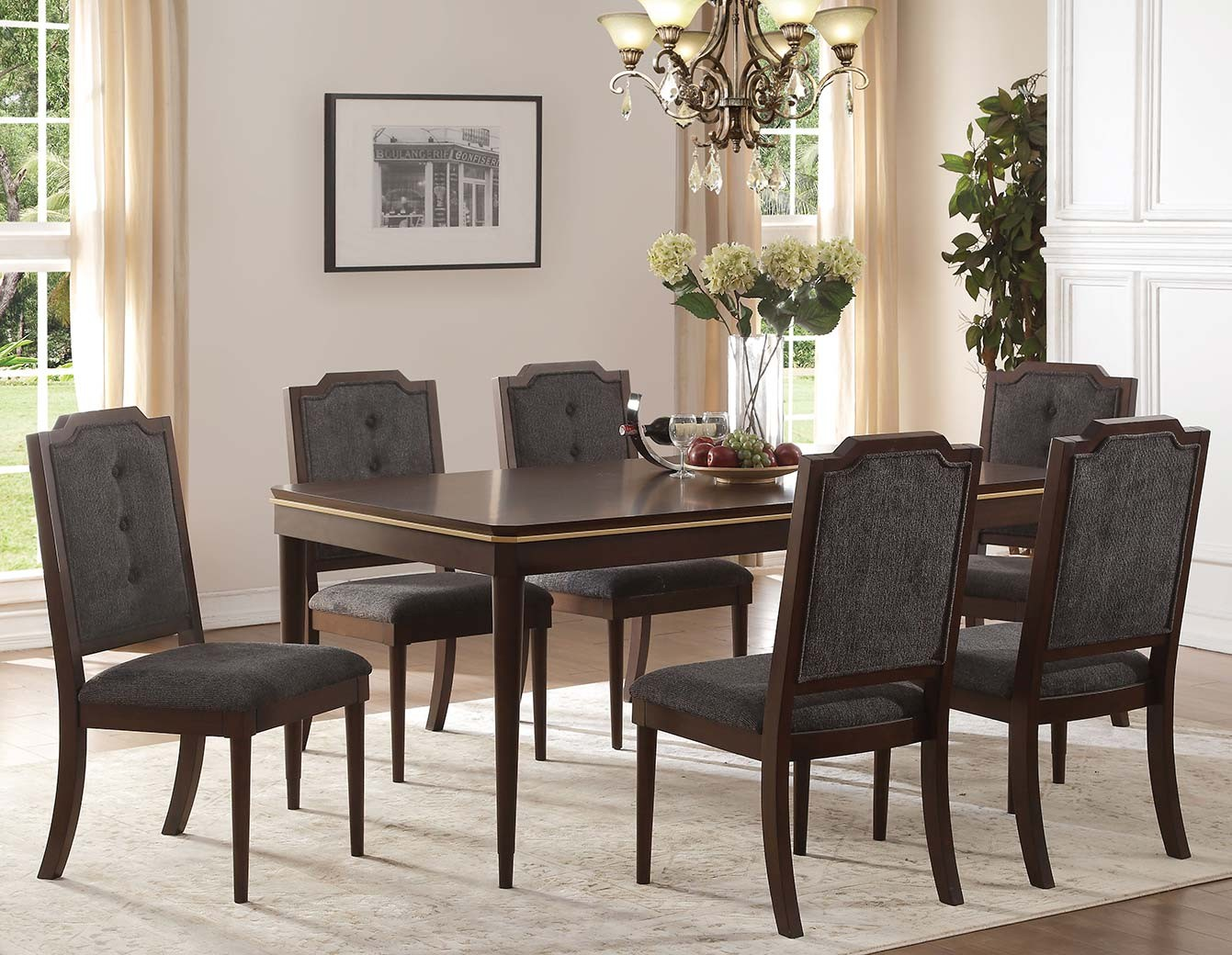 how to set living room 65960 acme dining set eschenbach collection in cherry finish 23169