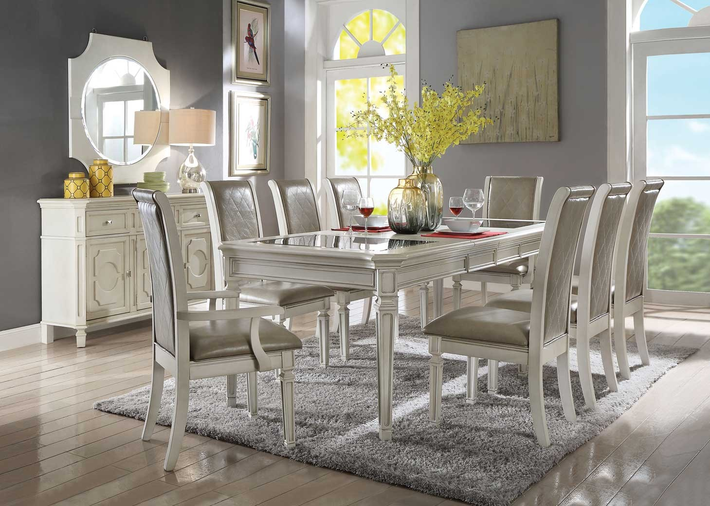 62090 Acme Dining Set Florissa Collection In Antique White