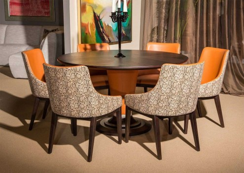 Aico by Michael Amini Cosmopolitan Orange Round Table Top 54""