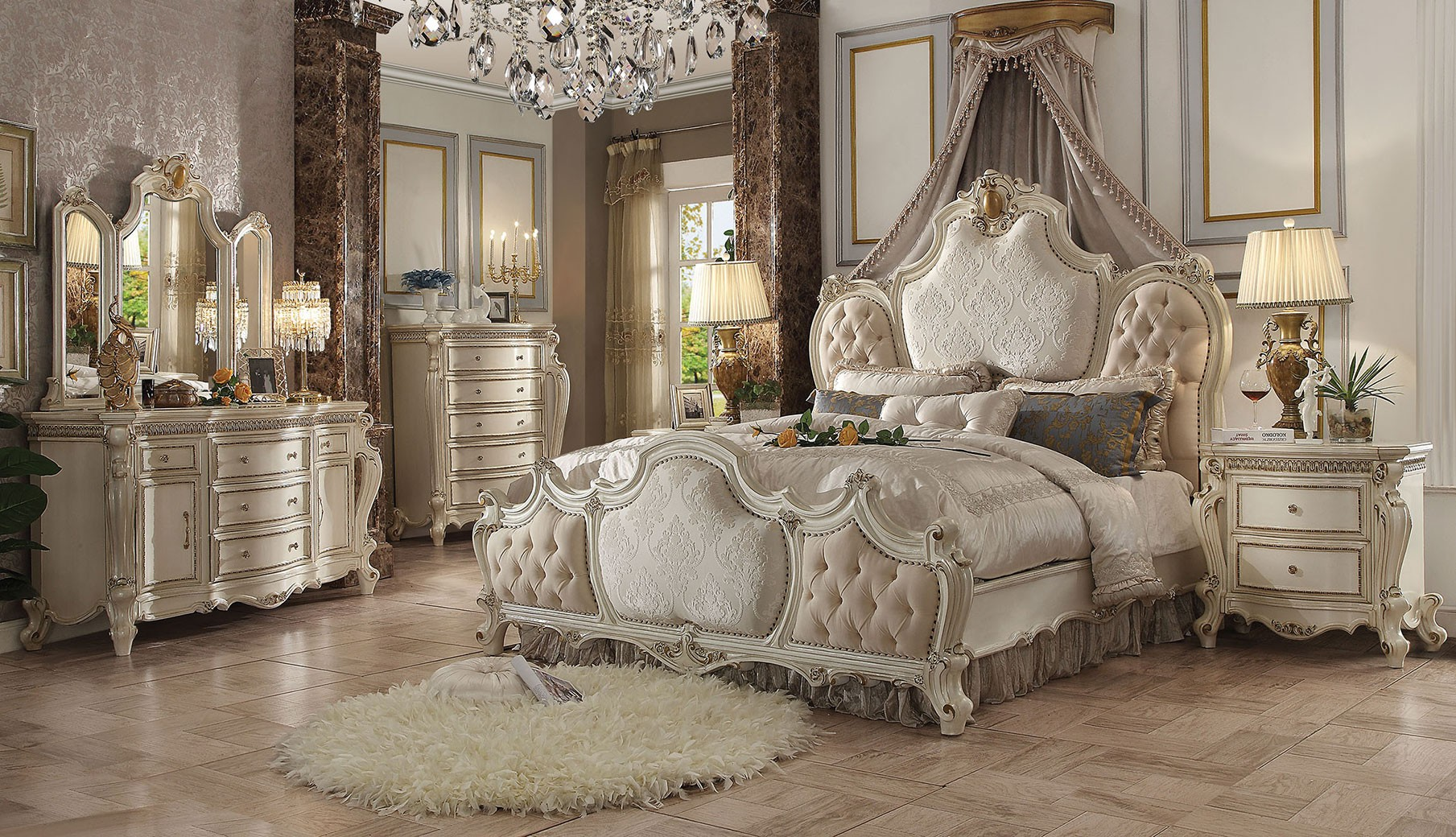 26880 Acme Picardy Bedroom Set Collection Fabric Antique