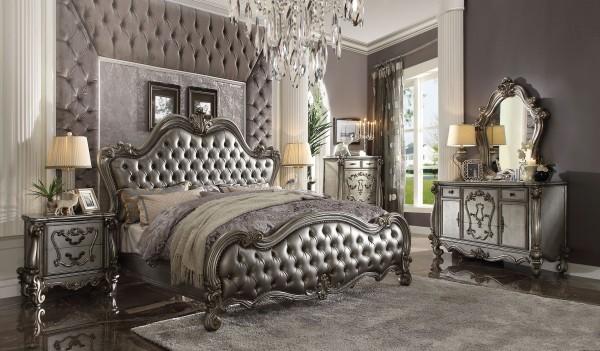 26840 Acme Versailles Ii Bedroom Set Collection. Silver Pu