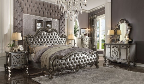 26840 Acme Versailles Ii Bedroom Set Collection. Silver Pu