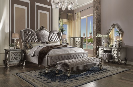 26820 Velvet / Antique Platinum Finish Acme Versailles