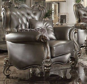 56820 ACME VERSAILLES SOFA COLLECTION SILVER PU/ ANTIQUE