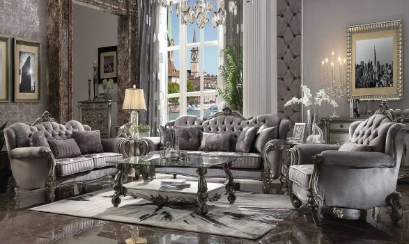 56840 ACME VERSAILLES SOFA COLLECTION VELVET ANTIQUE PLATINUM