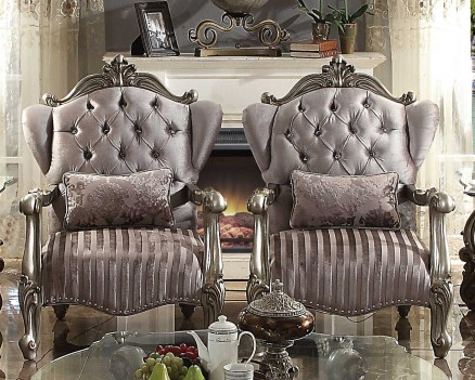 56845 ACME VERSAILLES SOFA COLLECTION VELVET ANTIQUE PLATINUM