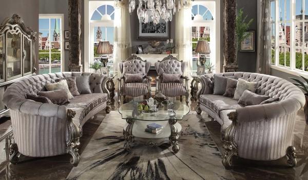 56845 velvet antique platinum finish living room acme - New classic versailles bedroom set ...