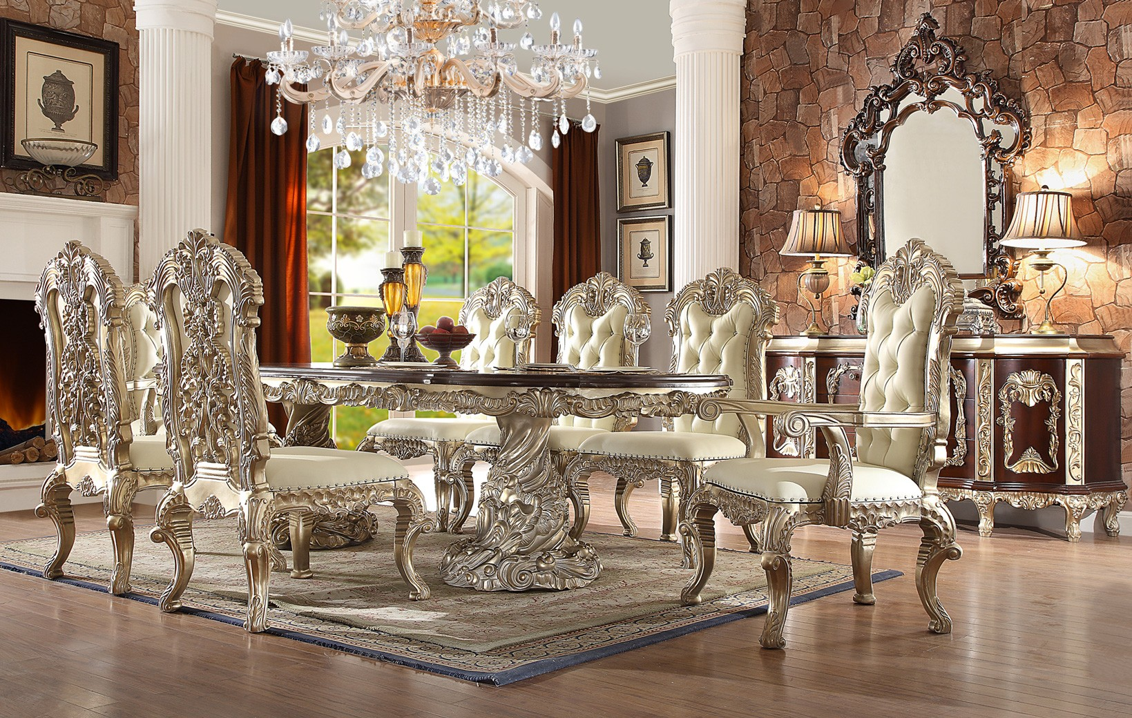Hd 8017 Antique White Finish Dining Set Rectangular Table Homey Design Victorian European Clic