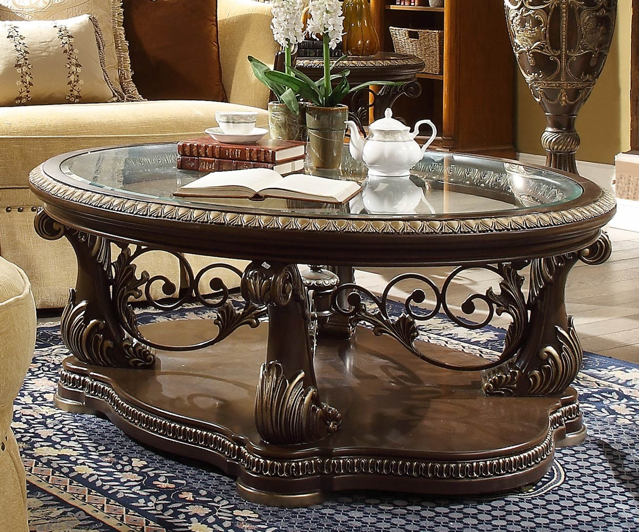 Victorian Coffee Table Set: HD 8013 Homey Design Occasional Tables Victorian, European