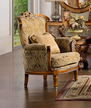 HD 369 Homey Design Traditional Wood Finish Upholstered Accent Chair