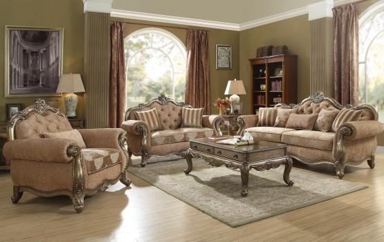 56030 Fabric Vintage Oak Finish Living Room Acme