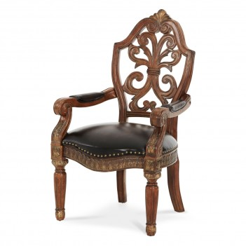 AICO Villa Valencia Writing Desk Chair in Classic Chestnut