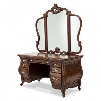 Aico Platine de Royale Lt Espresso Vanity Desk and Mirror