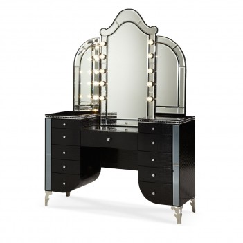 AICO Hollywood Swank Crystal Croc Upholstered Vanity with Mirror