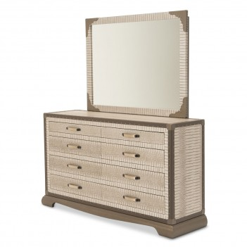 Aico Valise Upholstered 2 pc Dresser w/ Mirror Amazon Tan Gator