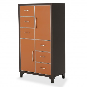 Aico 21 COSMOPOLITAN ORANGE 6 Drawer Chest Diablo Orange