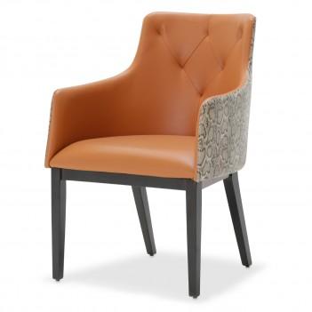 Aico 21 COSMOPOLITAN ORANGE Tufted Arm Chair Diablo Orange
