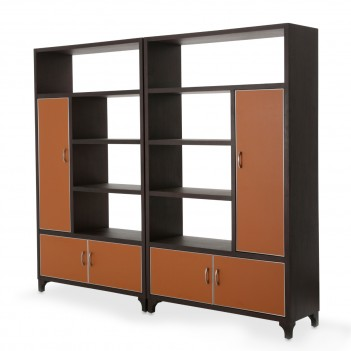 Aico 21 COSMOPOLITAN ORANGE 2 Piece Bookcase Unit Diablo Orange