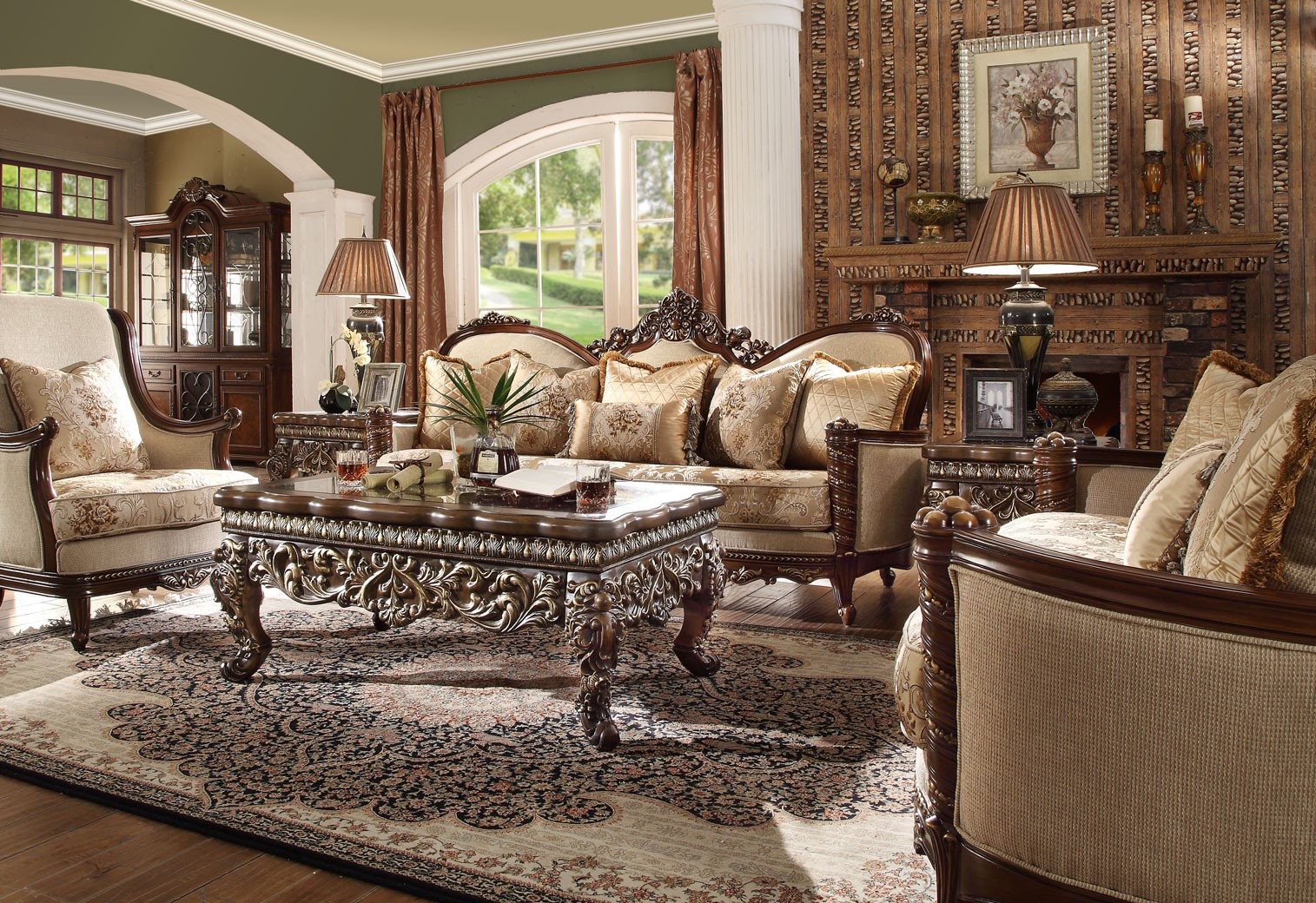 HD 92 Homey Design upholstery living room set Victorian, European & Classic  design Sofa Set